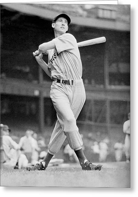 Boston Red Greeting Cards - Ted Williams swing Greeting Card by Gianfranco Weiss