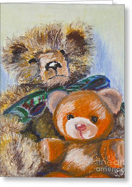 Child Toy Pastels Greeting Cards - Big Ted Greeting Card by Judith Davis