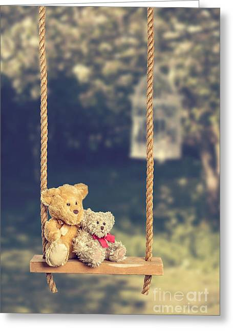 Valentines Day Greeting Cards - Teddies On Rustic Swing Greeting Card by Amanda And Christopher Elwell