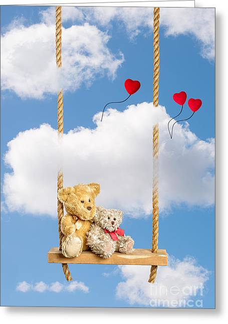 Valentines Day Greeting Cards - Teddies On Swing Greeting Card by Amanda And Christopher Elwell