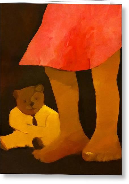 Teddybear Greeting Cards - Teddy and Girl Greeting Card by Lutz Baar