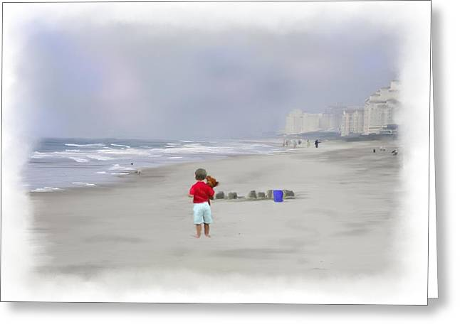 Sand Castles Greeting Cards - Teddy Bear and Sand Castles  Greeting Card by Mary Timman