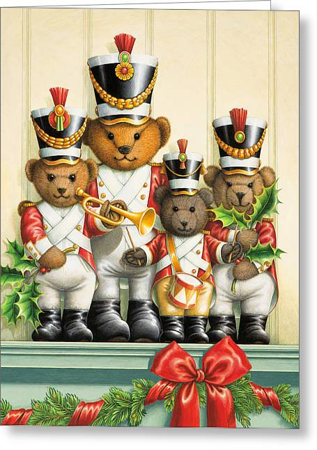 Marching Band Greeting Cards - Teddy Bear Band Greeting Card by Lynn Bywaters