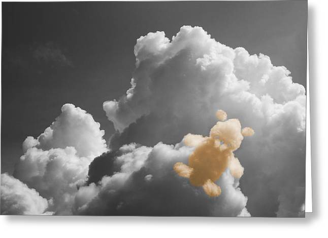 Black Teddy Greeting Cards - Teddy Bear Cloud Greeting Card by Dan Sproul