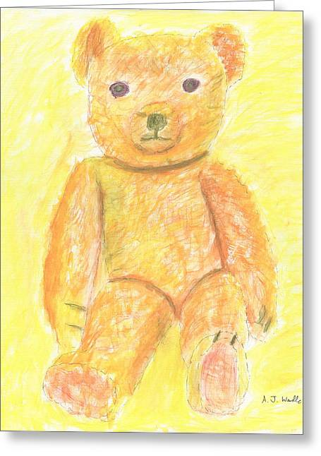 Nursery Pastels Greeting Cards - Teddy Bear Ginger Greeting Card by Adam Wardle