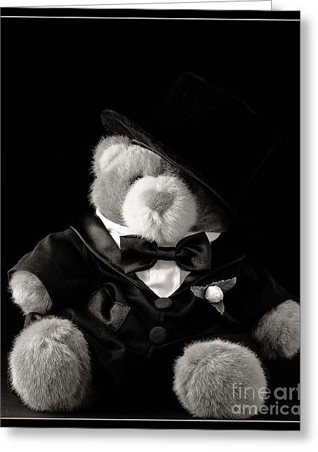 Announcement Greeting Cards - Teddy Bear Groom Greeting Card by Edward Fielding