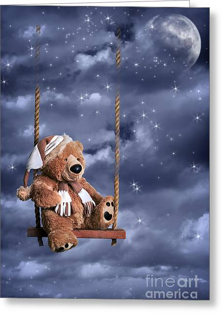 Toys Greeting Cards - Teddy Bear In Night Sky Greeting Card by Amanda And Christopher Elwell