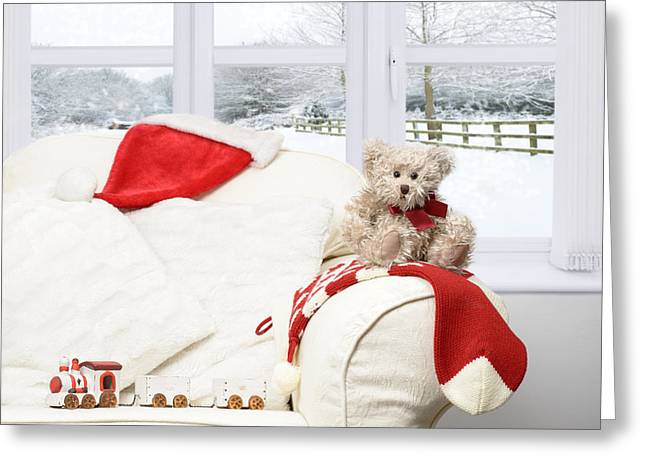 Cushion Photographs Greeting Cards - Teddy Bear On Sofa Greeting Card by Amanda And Christopher Elwell
