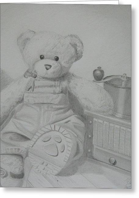 Overalls Drawings Greeting Cards - Teddy Bear Pose Greeting Card by Melanie Piltingsrud