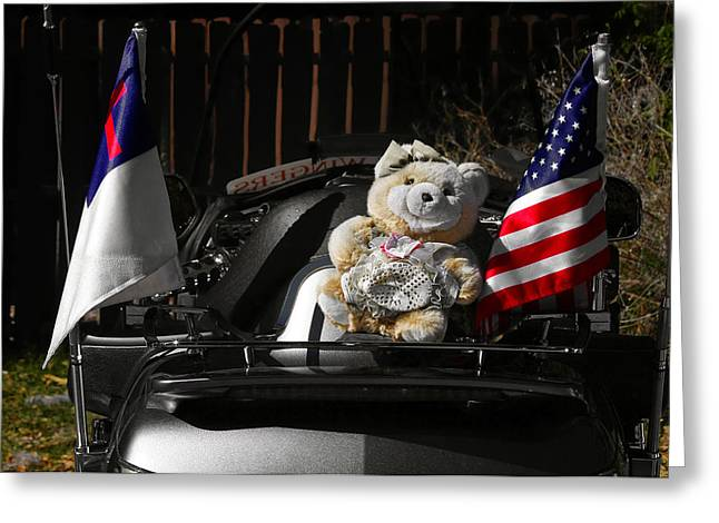 Teddy Bear Ridin' On Greeting Card by Christine Till
