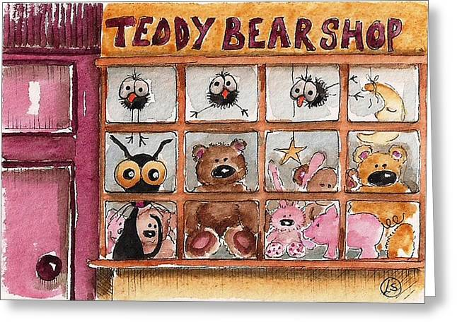 Toy Store Paintings Greeting Cards - Teddy Bear Shop Greeting Card by Lucia Stewart
