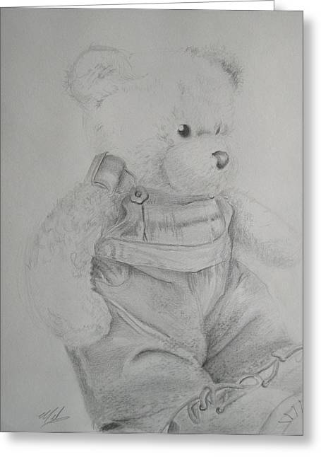 Overalls Drawings Greeting Cards - Teddy Bear Still Life Greeting Card by Melanie Piltingsrud