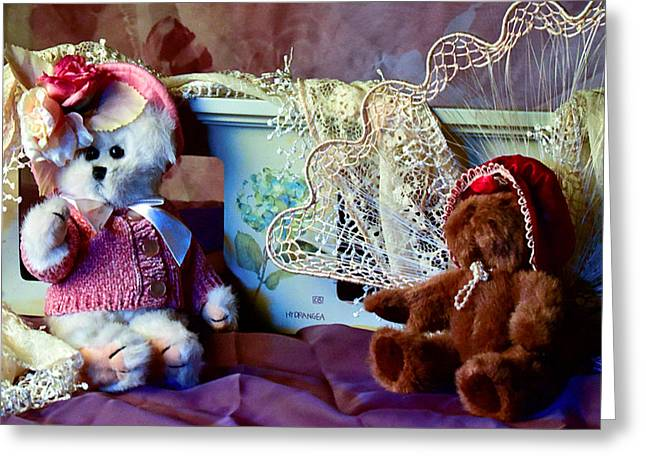Baby Room Greeting Cards - Teddy Bear Sweet Hearts Greeting Card by Camille Lopez