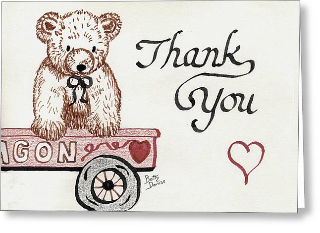 Spokes Drawings Greeting Cards - Teddy Bear Thank You Greeting Card by Betty Denise