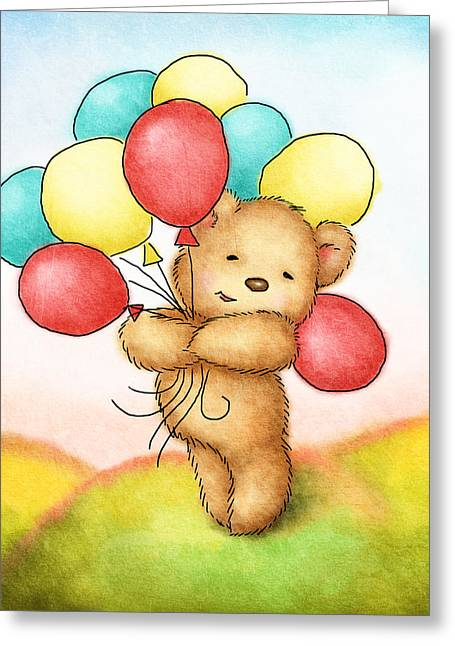 Motif One Greeting Cards - Teddy Bear With Colorfull Balloons Greeting Card by Anna Abramska