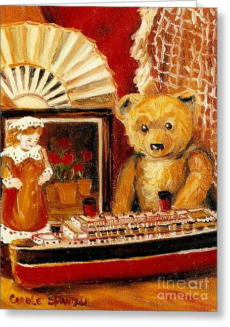 Toy Boat Greeting Cards - Teddy Bear With Tugboat Doll And Fan Childhood Memories Old Toys And Collectibles Nostalgic Scenes  Greeting Card by Carole Spandau
