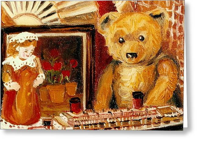 TEDDY BEAR WITH TUGBOAT DOLL AND FAN CHILDHOOD MEMORIES OLD TOYS AND COLLECTIBLES NOSTALGIC SCENES  Greeting Card by CAROLE SPANDAU