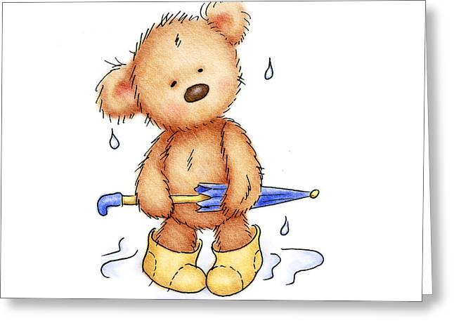teddy bear with umbrella Greeting Card by Anna Abramska