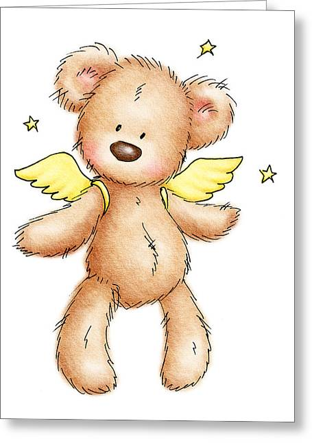 Child Toy Drawings Greeting Cards - Teddy Bear With Wings Greeting Card by Anna Abramska
