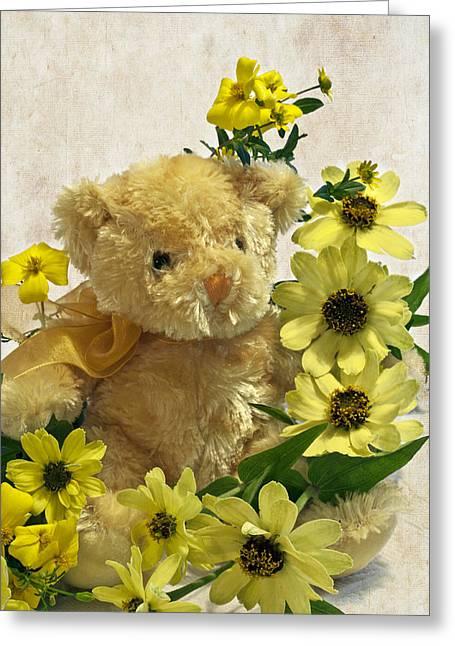 Lemon Art Greeting Cards - Teddy Bear - Yellow Toto Lemon Rudbeckia Greeting Card by Sandra Foster