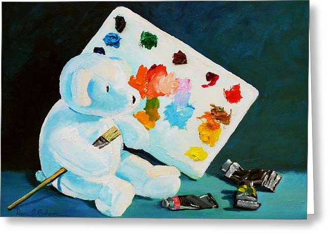 Green And Yellow Sculptures Greeting Cards - Teddy Behr the Painter #1 Greeting Card by Dan Redmon