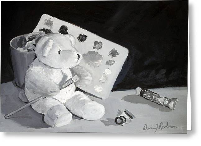 Toys Sculptures Greeting Cards - Teddy Behr the Painter #2 Greeting Card by Dan Redmon