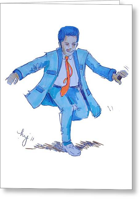 Side-swept Hair Greeting Cards - Teddy Boy Cartoon Greeting Card by Mike Jory