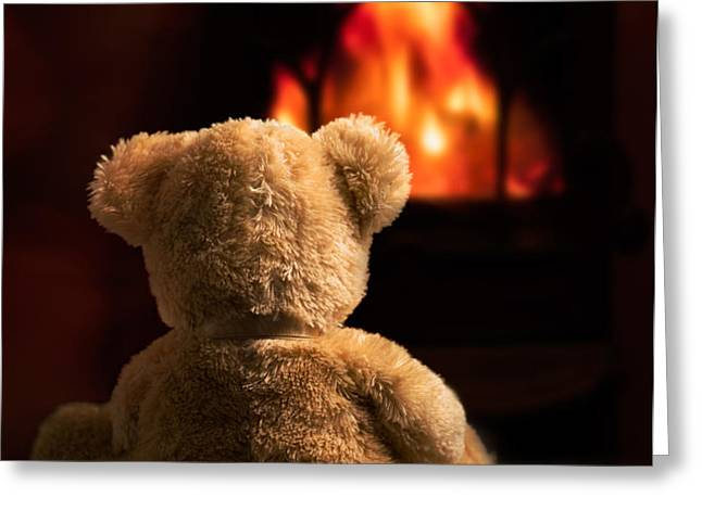 Teddy By The Fire Greeting Card by Amanda And Christopher Elwell