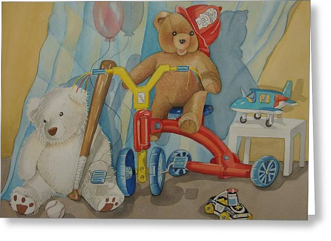 Child With Teddy Bear Greeting Cards - Teddy On A Bike Greeting Card by Madeline  Lovallo