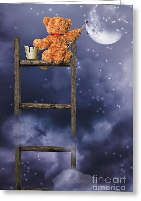 Story Books Greeting Cards - Teddy Painting At Night Greeting Card by Amanda And Christopher Elwell