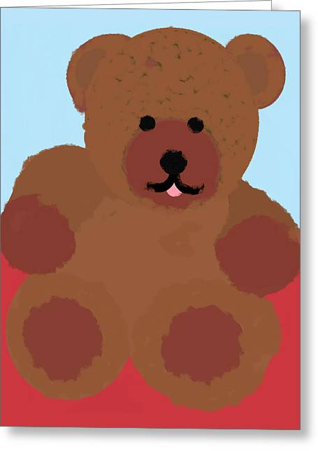 Leaning Pastels Greeting Cards - Teddy Snapshot Greeting Card by Pharris Art