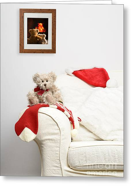 Cushion Photographs Greeting Cards - Teddy Waiting For Christmas Greeting Card by Amanda And Christopher Elwell