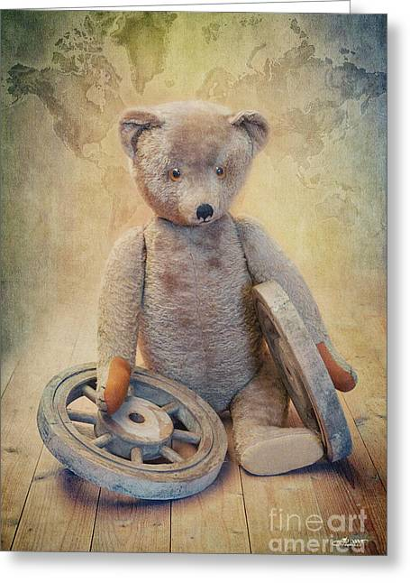 To Travel Greeting Cards - Teddy Wants to Travel Greeting Card by Jutta Maria Pusl
