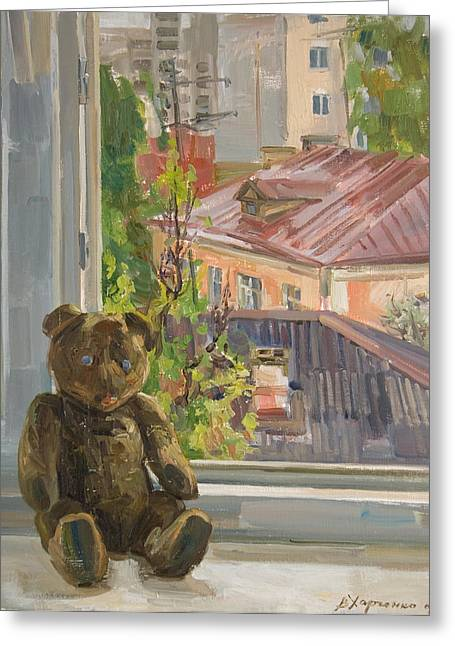 Teddy With Blue Eyes Greeting Card by Victoria Kharchenko