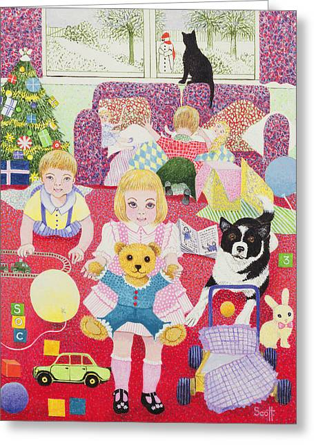 Toys Greeting Cards - Teddys Christmas Pyjamas Greeting Card by Pat Scott