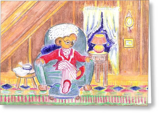 Pajamas Mixed Media Greeting Cards - Teddys Favorite Chair Greeting Card by Barbara LeMaster