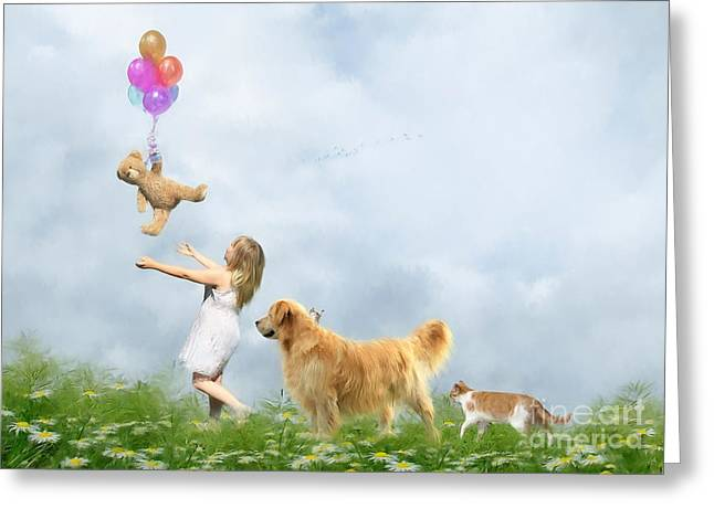Balloon Flower Digital Art Greeting Cards - Teddys Great Escape Greeting Card by Angelgold Art