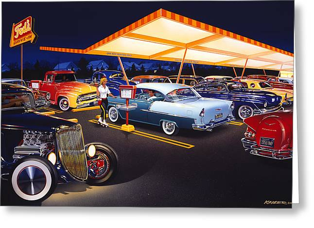 Kaiser Greeting Cards - Teds Drive-In Greeting Card by Bruce Kaiser