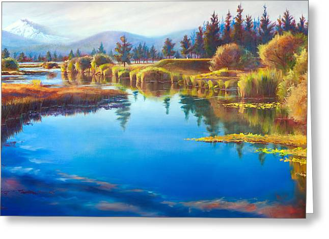 Tee Time Sunriver Meadows Greeting Card by Pat Cross
