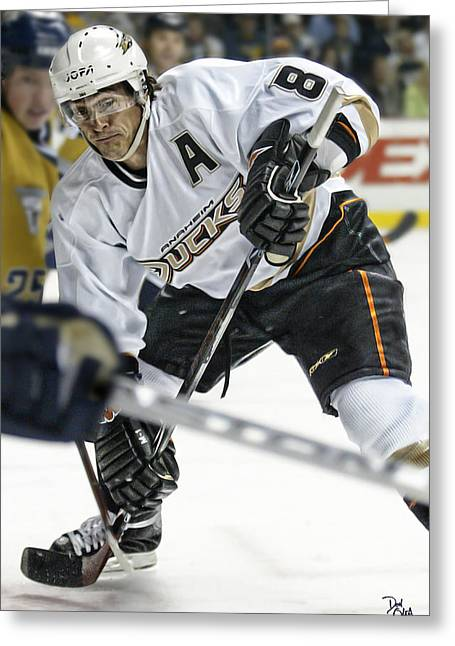 Reebok Greeting Cards - Teemu Selanne Greeting Card by Don Olea