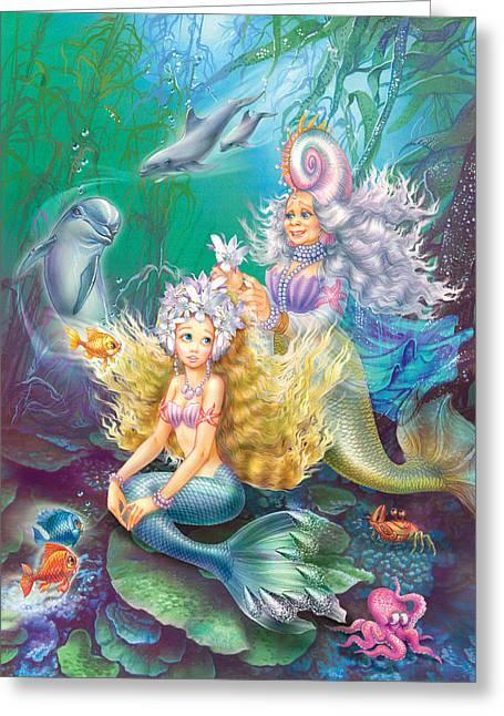 Teens Greeting Cards - Teen Little Mermaid Greeting Card by Zorina Baldescu