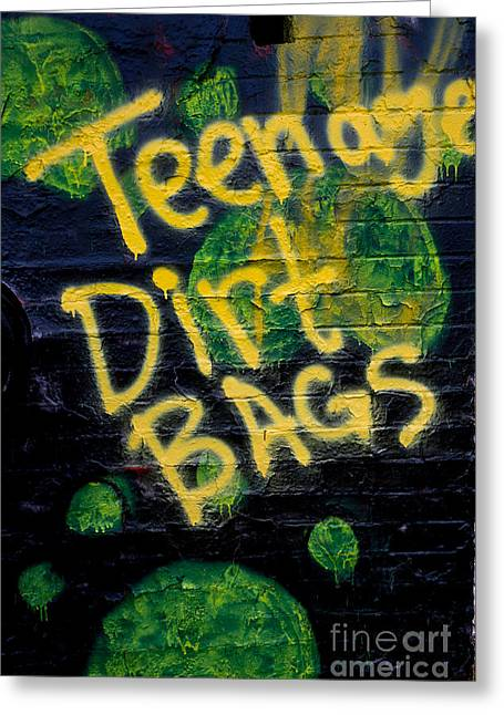 Teen Graffiti Greeting Cards - Teenage Dirt Bags Greeting Card by Amy Cicconi