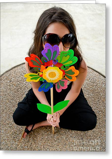 Model Greeting Cards - Teenage Girl Hiding Behind Toy Flower Greeting Card by Amy Cicconi