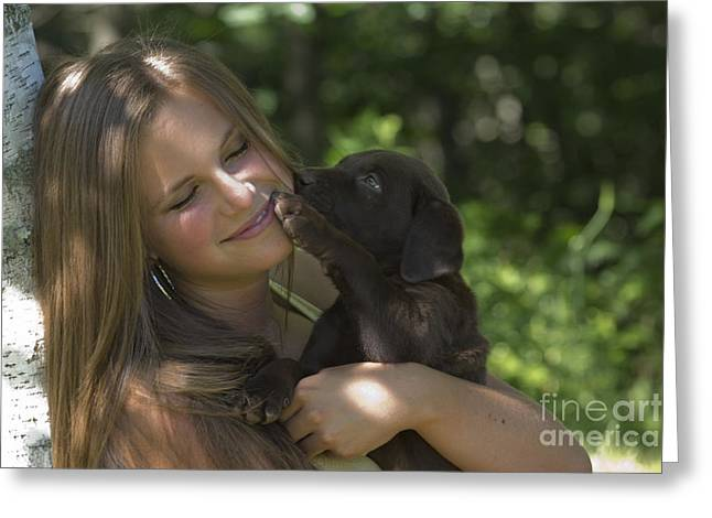 Teenage Girl Holding Labrador Retriever Greeting Card by Linda Freshwaters Arndt