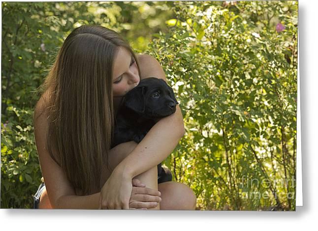 Teenage Girl With Chocolate Labrador Greeting Card by Linda Freshwaters Arndt