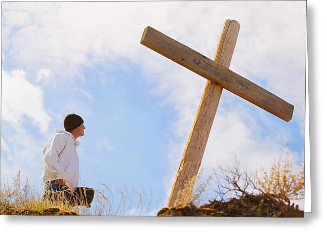 Calvary Greeting Cards - Teenager Standing At Cross Greeting Card by Don Hammond