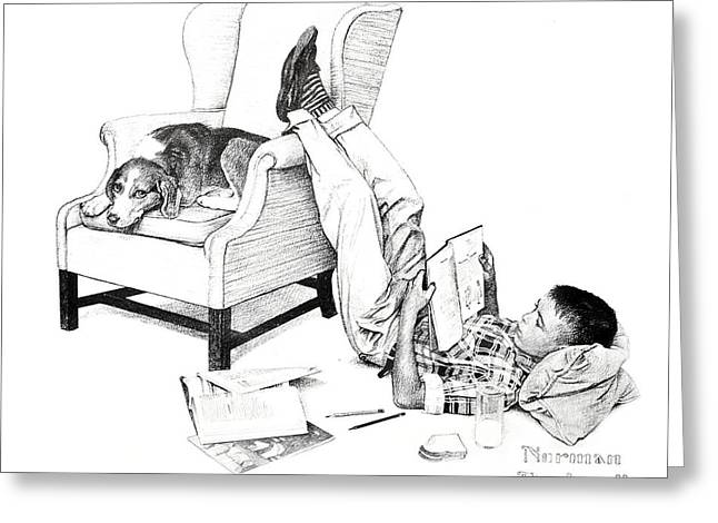 Teenager Studying Greeting Card by Susan Leggett