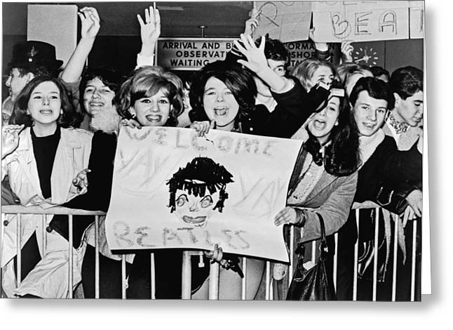 Teenagers Welcome The Beatles Greeting Card by Underwood Archives