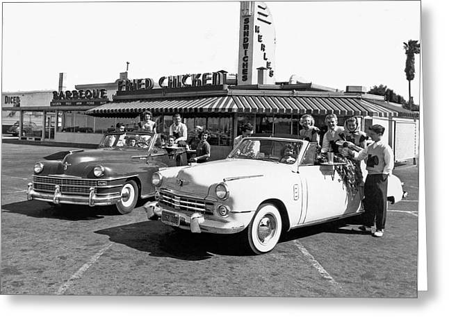 Teens At A Drive In Greeting Card by Underwood Archives