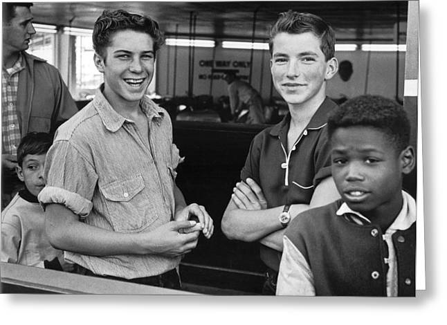 Teens Hanging Out Greeting Card by Underwood Archives